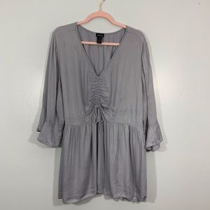 Torrid | Gray Ruched V-Neck Bell Sleeve Blouse
